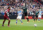 Nederland, Rotterdam, 3 mei 2015<br /> KNVB Bekerfinale<br /> Seizoen 2014-2015<br /> PEC Zwolle-FC Groningen<br /> Elftalfoto van PEC Zwolle<br /> Michael de Leeuw (r.) van FC Groningen schreeuwt het uit. Warner Hahn (l.) en Bram van Polen, aanvoerder van PEC Zwolle kijken de bal na.