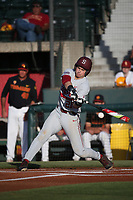 Matt Winaker (21) of the Stanford Cardinal bats against the Southern California Trojans at Dedeaux Field on April 6, 2017 in Los Angeles, California. Southern California defeated Stanford, 7-5. (Larry Goren/Four Seam Images)