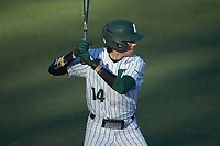 Austin Knight (14) of the Charlotte 49ers at bat against the Florida Atlantic Owls at Hayes Stadium on April 2, 2021 in Charlotte, North Carolina. The 49ers defeated the Owls 9-5. (Brian Westerholt/Four Seam Images)