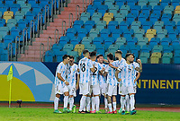 3rd July 2021, Estádio Olímpico Pedro Ludovico stadium, Goiânia, Brazil: Copa America Football tournament, Argentina versus Ecuador;   Lionel Messi of Argentina celebrates his goal