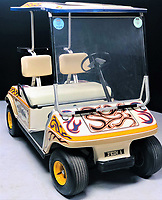 BNPS.co.uk (01202 558833)<br /> Pic: OmegaAuctions/BNPS<br /> <br /> A customised golf buggy that was owned by Oasis star Noel Gallagher at the height of the band's fame has emerged for sale for £10,000.<br /> <br /> The vehicle, which was a gift from his then wife Meg Matthews, belonged to the Wonderwall songwriter in the late 1990s.<br /> <br /> At the time Oasis were considered the biggest band in the world and had recently played to 250,000 over two nights at Knebworth, Herts.