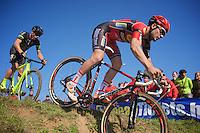 Tim Merlier (BEL/Sunweb-Napoleon Games) followed by Sven Nys (BEL/Crelan-AAdrinks)<br /> <br /> Elite Men's race<br /> bpost bank trofee<br /> GP Mario De Clercq Ronse 2015