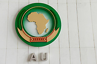 ETHIOPIA Addis Ababa, AU African Union new building, constructed and gifted by China, emblem of AU in foyer of plenary hall / AETHIOPIEN, Addis Abeba, neues Gebaeude der AU Afrikanischen Union, gebaut und geschenkt von China