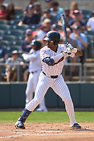 Somerset Patriots Isiah Gilliam (24) bats during a game against the Hartford Yard Goats on September 12, 2021 at TD Bank Ballpark in Bridgewater, New Jersey.  (Mike Janes/Four Seam Images)