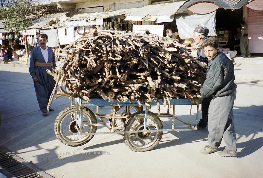 Irak 2000  Halabja:marchand de bois dans la rue  Iraq 2000  Halabja: Selling woods in the street