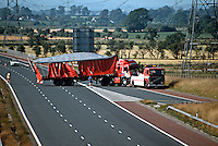 A RTA involving an H G V Lorry which skidded hit the central barrier and jack knifed on the motorway being recovered by recovery agency..©shoutpictures.com..john@shoutpictures.com