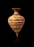 Minoan decorated fhython for export, Kommos Harbour 1600-1450 BC; Heraklion Archaeological  Museum, black background.