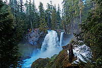 An evening view of Sahalie Falls as it runs full from snow melt in the spring, Willamette National Forest, Oregon.