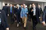 © Joel Goodman - 07973 332324 . 02/10/2017. Manchester, UK. THERSA MAY and PHILIP MAY leave the conference hall surrounded by delegates , after Philip Hammond's speech , during the second day of the Conservative Party Conference at the Manchester Central Convention Centre . Photo credit : Joel Goodman