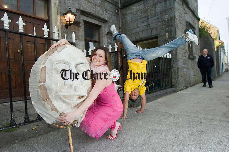 Singer Elisha Shimizu and  Kankao, a  Capoeira performer pictured at the launch of Changing Colours, the Gort Multicultural Arts Festival 2007 in conjunction with GRACE. Photograph by John Kelly.
