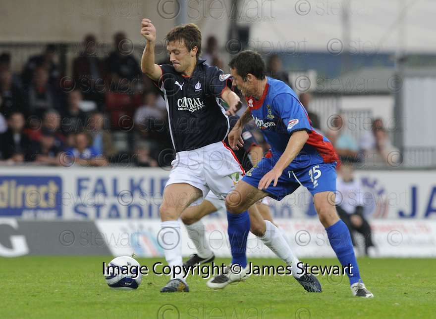 30/08/2008  Copyright Pic: James Stewart.File Name : sct_jspa06_falkirk_v_ict.KEVIN MCBRIDE GETS THE BALL OFF DON COWIE.James Stewart Photo Agency 19 Carronlea Drive, Falkirk. FK2 8DN      Vat Reg No. 607 6932 25.James Stewart Photo Agency 19 Carronlea Drive, Falkirk. FK2 8DN      Vat Reg No. 607 6932 25.Studio      : +44 (0)1324 611191 .Mobile      : +44 (0)7721 416997.E-mail  :  jim@jspa.co.uk.If you require further information then contact Jim Stewart on any of the numbers above........