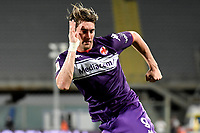 Dusan Vlahovic of ACF Fiorentina celebrates after scoring the goal of 3-0 during the Italy cup football match between ACF Fiorentina and Cosenza calcio at Artemio Franchi stadium in Florence (Italy), August 13th, 2021. Photo Andrea Staccioli / Insidefoto