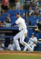 Toronto Blue Jays outfielder Michael Saunders (8) hits a double to center in the sixth inning while on rehab assignment with the Dunedin Blue Jays during a game against the Clearwater Threshers on April 10, 2015 at Florida Auto Exchange Stadium in Dunedin, Florida.  Clearwater defeated Dunedin 2-0.  (Mike Janes/Four Seam Images)