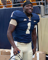 Pitt running back Ray Graham is all smiles after leading his team to victory. The Pittsburgh Panthers defeat the New Hampshire Wildcats 38-16 at Heinz Field, Pittsburgh Pennsylvania on September 11, 2010.