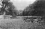 """A copy of a glassplate negative from the lawyers--this picture """"Looking upstream from bridgeon a dry summer day during the early 1900's"""" was introduced into evidence by the city of Waterbury. It depicts the dry river bed of the Shepaug River in 1906 before the city built its dam upstream. <br /> Photo 1906<br /> ran in Republican-American 09 December 1999"""
