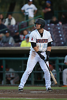 Jared Walsh (21) of the Inland Empire 66ers bats against the San Jose Giants at San Manuel Stadium on April 8, 2017 in San Bernardino, California. (Larry Goren/Four Seam Images)