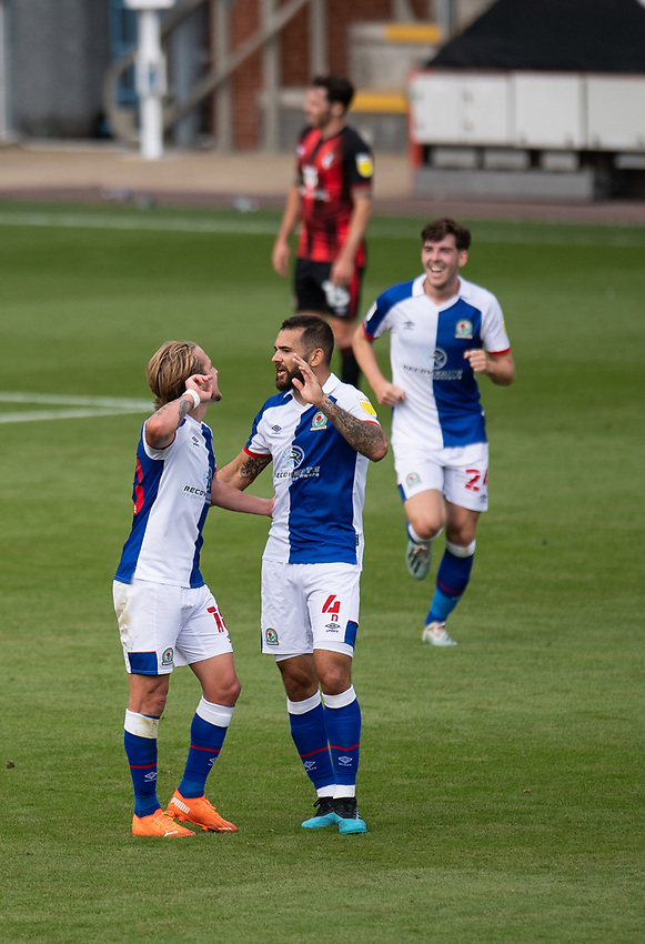Blackburn Rovers' Bradley Johnson (right) celebrates scoring his side's first goal with Blackburn Rovers' Lewis Holtby (left) <br /> <br /> Photographer David Horton/CameraSport <br /> <br /> The EFL Sky Bet Championship - Bournemouth v Blackburn Rovers - Saturday September 12th 2020 - Vitality Stadium - Bournemouth<br /> <br /> World Copyright © 2020 CameraSport. All rights reserved. 43 Linden Ave. Countesthorpe. Leicester. England. LE8 5PG - Tel: +44 (0) 116 277 4147 - admin@camerasport.com - www.camerasport.com