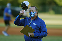 Head coach Tim Wallace of the Spartanburg Methodist College Pioneers wears a face mask in a fall workout on Pro Day on Thursday, October 1, 2020, at Mooneyham Field in Spartanburg, South Carolina. (Tom Priddy/Four Seam Images)