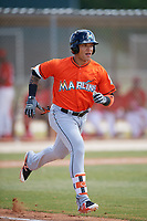 Miami Marlins Isan Diaz (21) during a Minor League Spring Training game against the St. Louis Cardinals on March 26, 2018 at the Roger Dean Stadium Complex in Jupiter, Florida.  (Mike Janes/Four Seam Images)