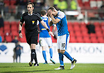 St Johnstone v Ross County…24.10.17…  McDiarmid Park…  SPFL<br />David Wotherspoon hits his free kick over the bar<br />Picture by Graeme Hart. <br />Copyright Perthshire Picture Agency<br />Tel: 01738 623350  Mobile: 07990 594431