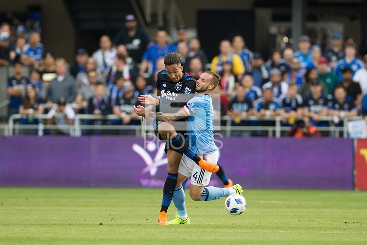 Santa Clara, CA - March 31, 2018: The San Jose Earthquakes lost to New York City FC 2-1 at Avaya Stadium in Santa Clara.
