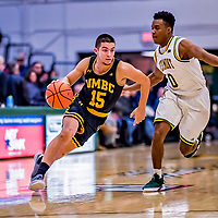 23 January 2019: UMBC Retriever Guard Jose Placer, a Freshman from Orlando, FL, in second half action against the University of Vermont Catamounts at Patrick Gymnasium in Burlington, Vermont. The Retrievers handed the Catamounts their first America East loss of the season 74-61. Mandatory Credit: Ed Wolfstein Photo *** RAW (NEF) Image File Available ***