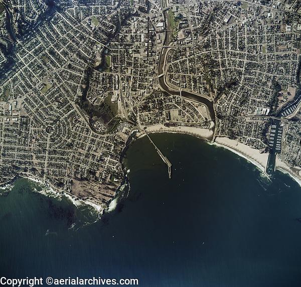 historical aerial photo map of Santa Cruz, California, 1974