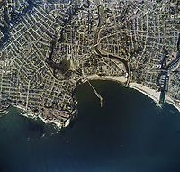 historical aerial photo map of Santa Cruz, California, 1974