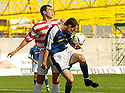 04/09/2004   Copyright Pic : James Stewart.File Name : jspa03_hamilton_v_stjohnstone.DAVID HAMILTON AND MICHAEL MOORE CHALLENGE FOR THE BALL.....Payments to :.James Stewart Photo Agency 19 Carronlea Drive, Falkirk. FK2 8DN      Vat Reg No. 607 6932 25.Office     : +44 (0)1324 570906     .Mobile  : +44 (0)7721 416997.Fax         :  +44 (0)1324 570906.E-mail  :  jim@jspa.co.uk.If you require further information then contact Jim Stewart on any of the numbers above.........