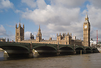 Big Ben and Houses of Parliament behind the Westminster Bridge, London, England