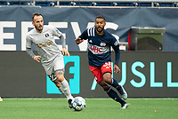 FOXBOROUGH, MA - APRIL 17: Emiliano Terzaghi #32 of Richmond Kickers passes the ball to midfield during a game between Richmond Kickers and Revolution II at Gillette Stadium on April 17, 2021 in Foxborough, Massachusetts.