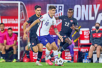 5th September 2021; Nashville, TN, USA;  United States forward Christian Pulisic beats Canada midfielder Stephen Eustaquio (7) and defender Richie Laryea (22) during a CONCACAF World Cup qualifying match between the United States and Canada on September 5, 2021 at Nissan Stadium in Nashville, TN.