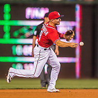 28 May 2016: Washington Nationals shortstop Danny Espinosa in action against the St. Louis Cardinals at Nationals Park in Washington, DC. The Cardinals defeated the Nationals 9-4 to take a 2-games to 1 lead in their 4-game series. Mandatory Credit: Ed Wolfstein Photo *** RAW (NEF) Image File Available ***