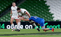 Saturday 12th September 2020 | PRO14 Final - Leinster vs Ulster<br /> <br /> Sam Carter is tackled by Will Connors during the Guinness PRO14 Final between Leinster ands Ulster at the Aviva Stadium, Lansdowne Road, Dublin, Ireland. Photo by John Dickson / Dicksondigital