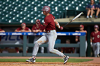 Mitch Bigras (4) of the Boston College Eagles follows through on his swing against the North Carolina State Wolfpack in Game Two of the 2017 ACC Baseball Championship at Louisville Slugger Field on May 23, 2017 in Louisville, Kentucky. The Wolfpack defeated the Eagles 6-1. (Brian Westerholt/Four Seam Images)