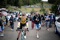 Wout van Aert (BEL/Jumbo - Visma) ready for the descent of La Planche des Belles Filles by bike post-race<br /> <br /> Stage 6: Mulhouse to La Planche des Belles Filles (157km)<br /> 106th Tour de France 2019 (2.UWT)<br /> <br /> ©kramon