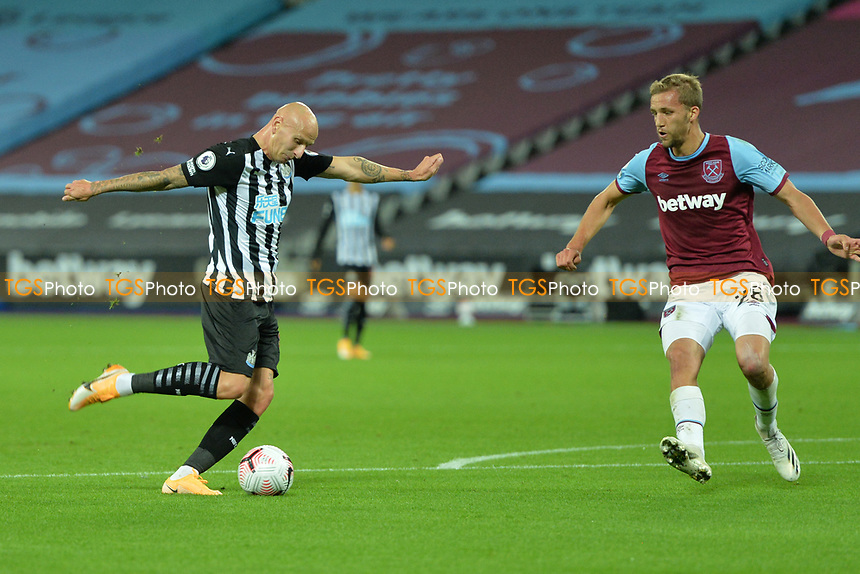 Jonjo Shelvey of Newcastle United shoots wide during West Ham United vs Newcastle United, Premier League Football at The London Stadium on 12th September 2020