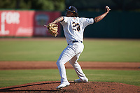 Charleston RiverDogs relief pitcher Angel Felipe (28) in action against the Augusta GreenJackets at Joseph P. Riley, Jr. Park on June 27, 2021 in Charleston, South Carolina. (Brian Westerholt/Four Seam Images)