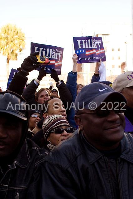 Columbia, South Carolina.January 21, 2008 ..Democratic presidential hopeful and New York Senator Hillary Clinton with the two other Democratic Presidential candidates, Senator Barak Obama and John Edwards at an ANNCP rally on Martin Luther King day...