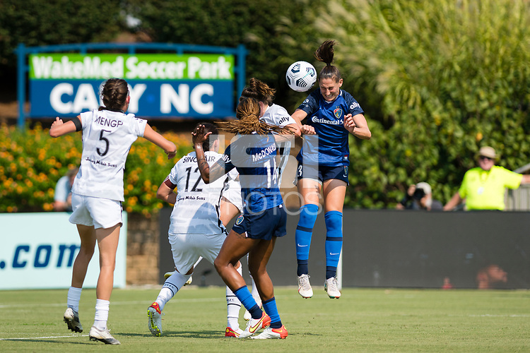 CARY, NC - SEPTEMBER 12: Kaleigh Kurtz #3 of the NC Courage heads the ball during a game between Portland Thorns FC and North Carolina Courage at WakeMed Soccer Park on September 12, 2021 in Cary, North Carolina.