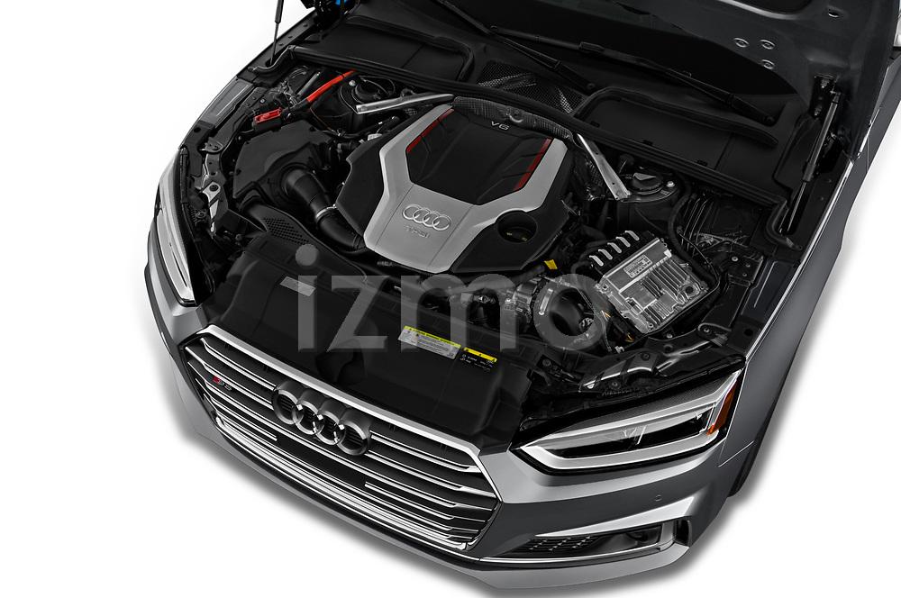 Car stock 2018 Audi S5 Sportback 3.0T Premium Plus quattro Tiptronic 5 Door Hatchback engine high angle detail view