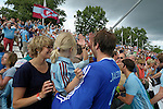 GER - Mannheim, Germany, June 04: During the Final4 semi-final Herren hockey match between Mannheimer HC (red) and UHC Hamburg(blue) on June 4, 2016 at Mannheimer HC in Mannheim, Germany. Final score 1-3. (Photo by Dirk Markgraf / www.265-images.com) *** Local caption *** Nicolas Jacobi #1 of Uhlenhorster HC Hamburg celebrates after winning