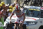 """Dan Martin (IRL) UAE Team Emirates climbs towards the finish line atop the Col du Tourmalet 5'35"""" down at the end of Stage 14 of the 2019 Tour de France running 117.5km from Tarbes to Tourmalet Bareges, France. 20th July 2019.<br /> Picture: Colin Flockton 
