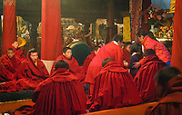 Monks gather for meditation inside Jokahng temple. Lhasa, Tibet.