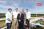 Welsh rugby stars of the past and present Leigh Halfpenny, Sam Warburton, Gareth Edwards, Scott Quinnell and George North enjoying the golf at ISPS Handa Wales Open 2013 at the Celtic Manor Resort.<br /> <br /> 01.09.13<br /> <br /> ©Steve Pope-Sportingwales