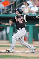 Josh Donaldson #20 of the Sacramento RiverCats hits a first inning homerun in a Pacific Coast League game against the Tucson Padres at Kino Stadium on June 24, 2011  in Tucson, Arizona. Bill Mitchell/Four Seam Images.