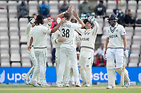 New Zealand and Tim Southee celebrate the wicket of Shubman Gill during India vs New Zealand, ICC World Test Championship Final Cricket at The Hampshire Bowl on 22nd June 2021