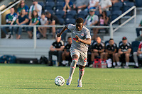 HARTFORD, CT - JULY 10: Omar Sowe #67 of New York Red Bulls II brings the ball forward during a game between New York Red Bulls II and Hartford Athletics at Dillon Stadium on July 10, 2021 in Hartford, Connecticut.
