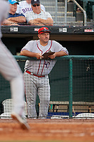 Syracuse Chiefs hitting coach Brian Daubach (47) during a game against the Buffalo Bisons on June 30, 2017 at Coca-Cola Field in Buffalo, New York.  Syracuse defeated Buffalo 8-1.  (Mike Janes/Four Seam Images)