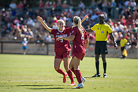 STANFORD, CA - SEPTEMBER 12: Astrid Wheeler and Belle Briede during a game between Loyola Marymount University and Stanford University at Cagan Stadium on September 12, 2021 in Stanford, California.